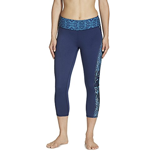 Gaiam Women's Luxe Yoga Capri Print, Midnight Patchwork, X-Small