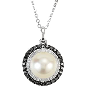 14K White Gold Black and White Diamond and Pearl Necklace