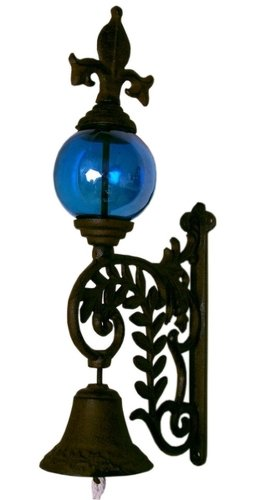 IWGAC 0184S-0101B Cast Iron Bell W BLUE Glass Gazing Ball 5 cast iron caster universal swivel castor with brake