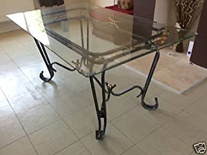 Black Glass Furniture New Corsica Clear Glass And Wrought Iron Dining Table Top Price