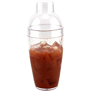 Plastic Cocktail Shaker, 14oz Clear 3 Piece set