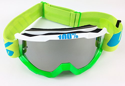 100% Accuri Motocross MX Goggles Barracuda with Goggle-Shop Silver Mirror Lens