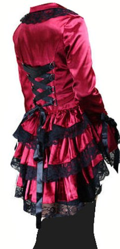 Red - Satin Corset Bustle Lace Ruffle Jacket Gothic Steam-Punk Victorian Vintage Size 22-24