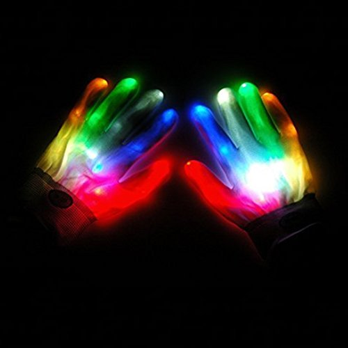 Z ZTDM Colorful LED Light UP Flashing Finger Lighting Gloves for Light Show Clubbing Rave Birthday EDM Disco Dubstep Party Best Idea Gift (Size1)