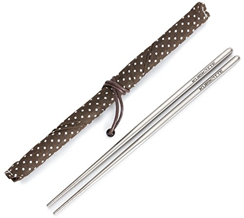 Square Titanium (Ti) Chopsticks Extra Strong Light as a Feather Food Grade with Stylish Carrying Case. Perfect for Camping Picnics