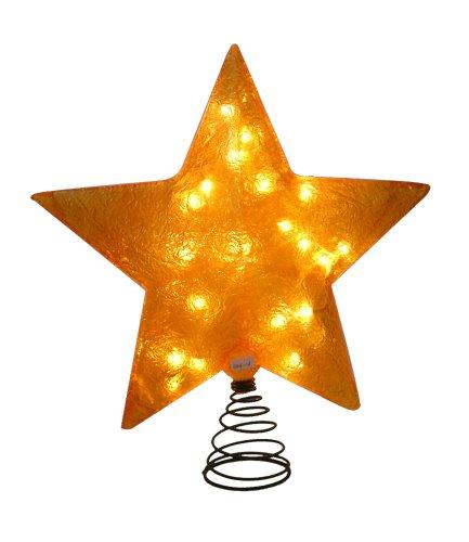 barcana 20 inch illuminated fiberglass christmas tree topper gold star light review - Barcana Christmas Trees