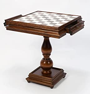 Monaco Deluxe Chessmen & Monticello Chess Table From Italy