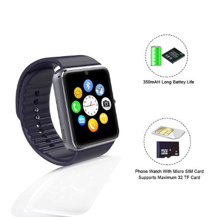 Sunflower GT08 reloj Inteligente Bluetooth Smart Watch for iPhone 6 puls 5S Samsung S4 Note 3 HTC Android Phone Smartphones Android Wear black
