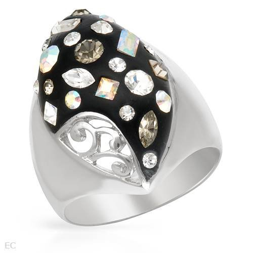 Ring With Genuine Crystals Beautifully Crafted in Black Enamel and 925 Sterling silver. Total item weight 7.4g (Size 8)