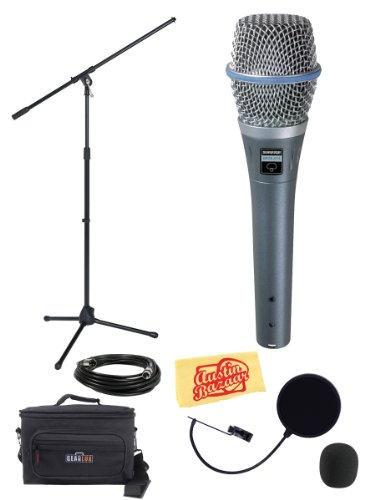 Shure Beta 87A Professional Vocal Microphone Bundle With Boom Stand, Gear Bag, Pop Filter, Xlr Cable, Mic Clip, Windscreen, And Polishing Cloth
