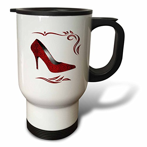 Doreen Erhardt Animal Print Collection - Hot Red Cheetah Print Stiletto High Heel with Swirls and White - 14oz Stainless Steel Travel Mug (tm_244691_1) (High Heel Insulated Cup compare prices)