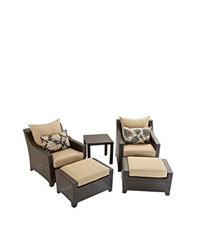 RST Brands Deco 5-Piece Club Chair and Ottoman Set, Beige