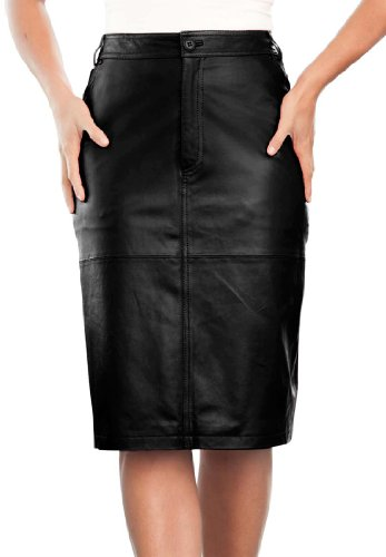 Jessica London Plus Size Leather Pencil Skirt