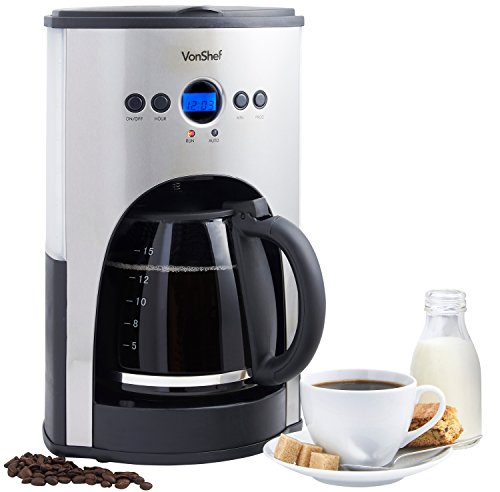 Programmable Filter Coffee Maker : VonShef 1100W Digital Filter Coffee Maker, 15 Cup Capacity with Fully Programmable Function and ...