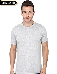 Men's Grey Melange Color Plain Round Neck Tshirt