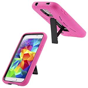 Plastic + Silicone Combination Case with Holder for Samsung Galaxy S5 G900 in Magenta
