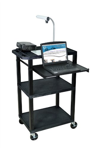 H Wilson Wtps42Gye-B Rollable Audio Visual Presentation Cart With 3 Open Shelves And Keyboard With Mouse Pad Extender Tray, Gray And Black