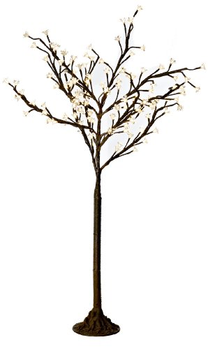 Arclite Nbl-130 Cherry Blossom Tree, 4.5' Height, With Natural Brown Trunk, Clear Crystals And Warm White Lights