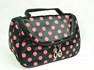 BDS - Pink with Black Dot Travel Toiletry Cosmetic Makeup Bag Organizer by Best Deal Shopper (BDS)