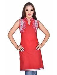 Kirti's Cotton Cotton Kurtis - Red (F065-2)