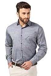 Mesh Full Sleeves Casual Cotton Blend Shirt for Men's/Boy's (Blue) -42
