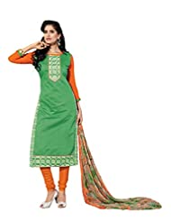 Women's Turquoise & Orange Embroidered Chanderi Semi Stitched Salwar Suit