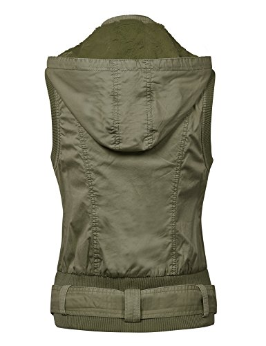 MBJ WV1008 Womens Belted Zip Up Hoodie Vest with Inner Fleece L KHAKI