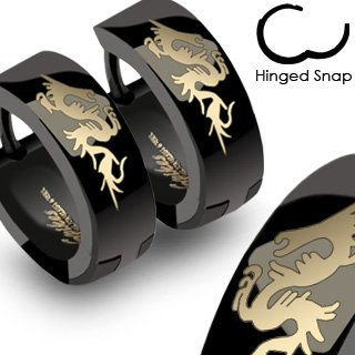 Black Anodized Stainless Steel Huggies with Dragon - Approx 14mm - Sold in Pairs