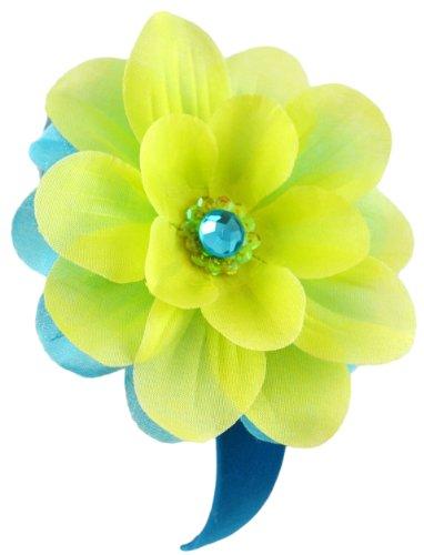 Jojo Girls Handmade Flower Headband (Turquoise & Lime Green)