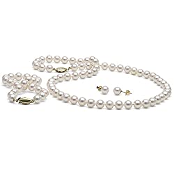 Cultured White Saltwater Japanese Akoya 3-Piece Matching Necklace, Bracelet and Stud Earring Jewelry Set, 6.5-7.0mm - 16-Inch Choker Length Necklace - AAA Quality - 14K Yellow Gold Solid Fish Hook Clasp