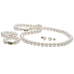White Akoya Pearl 3-Piece Jewelry Set 6.5-7.0mm - AAA Quality 18-Inch - Priness 14K White Gold Solid Fish Hook Clasp