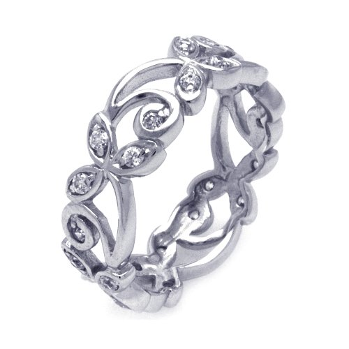 Sterling Silver CZ Featured Flower Eternity Band Ring Size 5