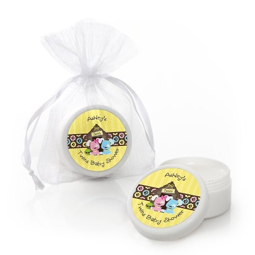 Twin Puppy Dogs 1 Boy & 1 Girl - Personalized Baby Shower Lip Balm Favors front-109954
