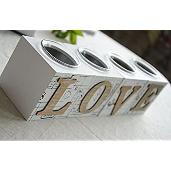 B&S FEEL Creative Vintage LOVE Square Wooden Candle Holder Set
