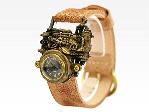 スチームパンク風デザインの腕時計「Mechtopia II (front view)」 時計作家KS(篠原康治) 手作り時計のJHA(ブラック)