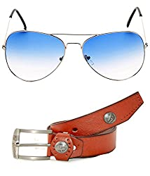 MagJons Combo Of Brown Leather Belt And Aviator Sunglasses For Men With Box