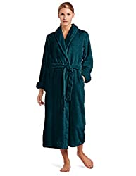 Casual Moments Women's 50 Inch Set-In Belt Robe, Teal Green, Large