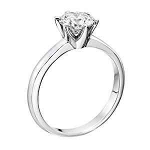 GIA Certified 14k white-gold Round Cut Diamond Engagement Ring (0.51 cttw, I Color, SI1 Clarity)