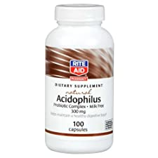 Rite Aid Natural Acidophilus, 300mg, 100 Capsules