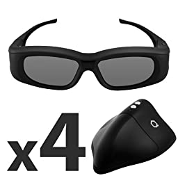 G5 Universal 3D Glasses by Quantum 3D (4 Pack + High Power 3D IR Emitter with PowerBOOST)
