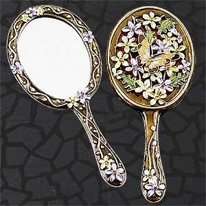 StealStreet SS-A-51813 Oval Butterfly Hand Mirror, Golden