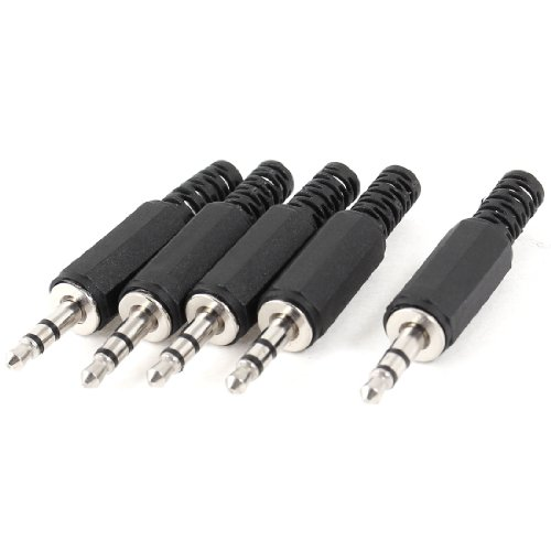 5 Pcs Black Plastic Housing 3.5Mm Audio Jack Plug Headphone Connector