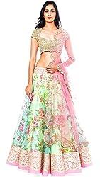 The Zeel Fashion Sky blue Color bhaglpoori Anarkali Unstitched lehegas set