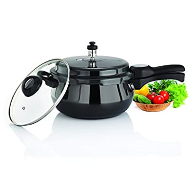 Premier Cucina Trendy Black Handi Pressure Cooker with Glass Lid 1.5 Litre