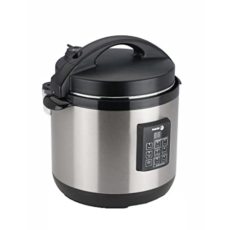 Fagor's 6 -quart Electric Multi-Cooker is a pressure cooker, a slow cooker and a rice cooker in one. It also features a brown and a warm function for a truly one-pot-cooking, and a six quart removable cooking pot that is dishwasher safe and nonstick ...
