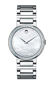 Movado Women's 0606421 Concerto Stainless-Steel and Diamonds White Mother-Of-Pearl Dial Watch