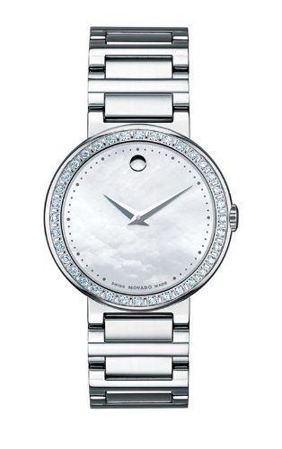 MOVADO Watch:Movado Women's 0606421 Concerto Stainless-Steel and Diamonds White Mother-Of-Pearl Dial Watch Images