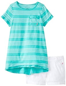 Nautica Girls 7-16 2 Color Stripe Tee with Colored Poplin Short from Nautica