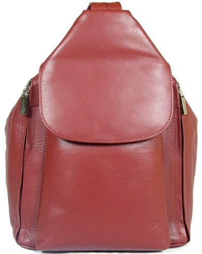 New girls/ladies gorgeous Visconti dark red soft leather backpack bag style 18357
