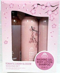 Organgel Romantic Cherry Aromatherapy Spa Blossom Washing Set 3in1 (320ml. Per Bottle) (Free Gift: Epistick Epilator Facial Face Hair Free Remover Stick and Rolanjona Black Gold Caviar Whitening Facial Mask25g.)